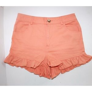 Finders Keepers Peach Ruffle Short Shorts